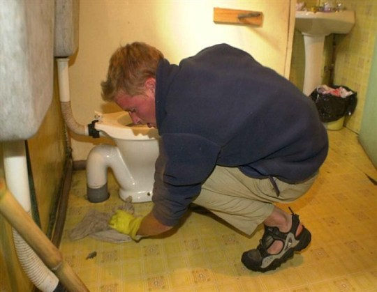 Prince William Cleaning Toilet