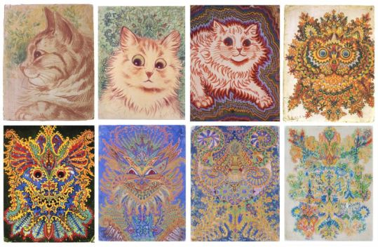 Louis Wain Cat Drawings (Colour)-800
